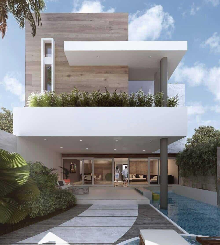 ideias para fachadas de casas modernas com piscina