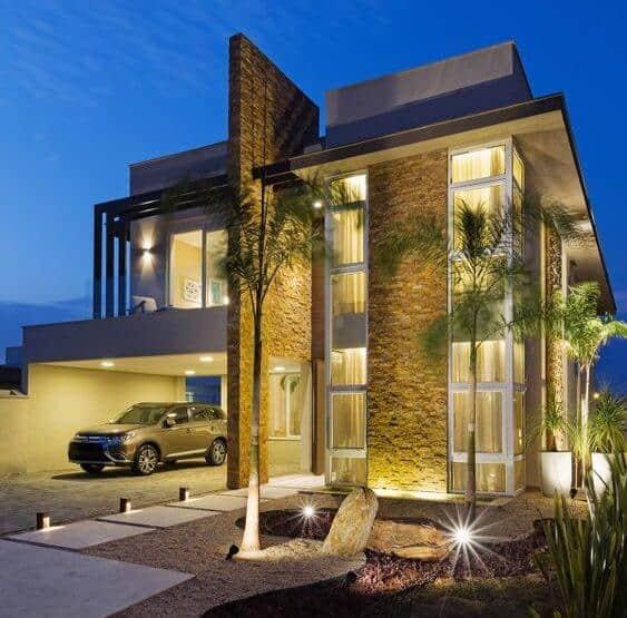 casa de luxo contemporanea com pedras