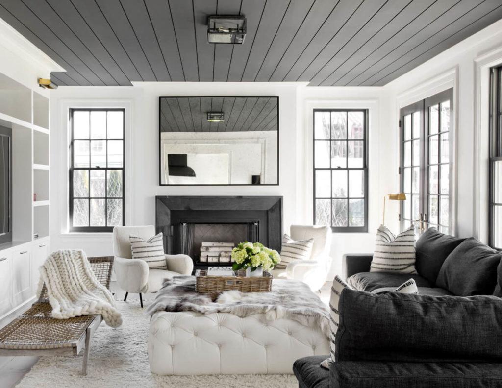 sala branca e preta de luxo aconchegante