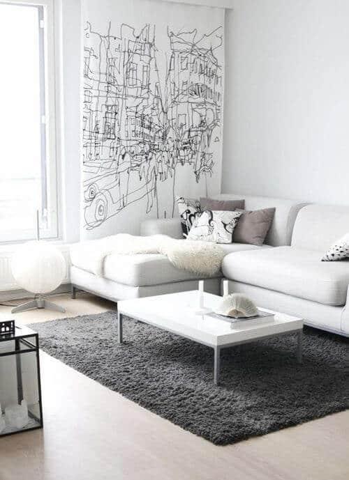 sala com sofa branco moderna