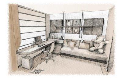 croqui de design de interiores quarto