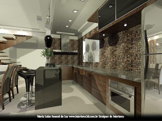 cozinha integrada escura