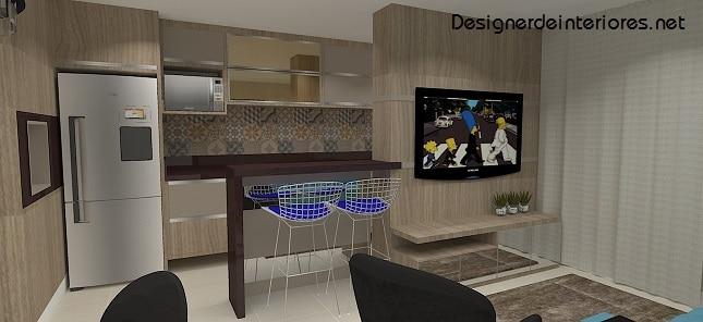 sala e cozinha integrada tons de madeira