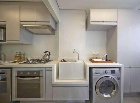 area de servico moderna integrada com a cozinha