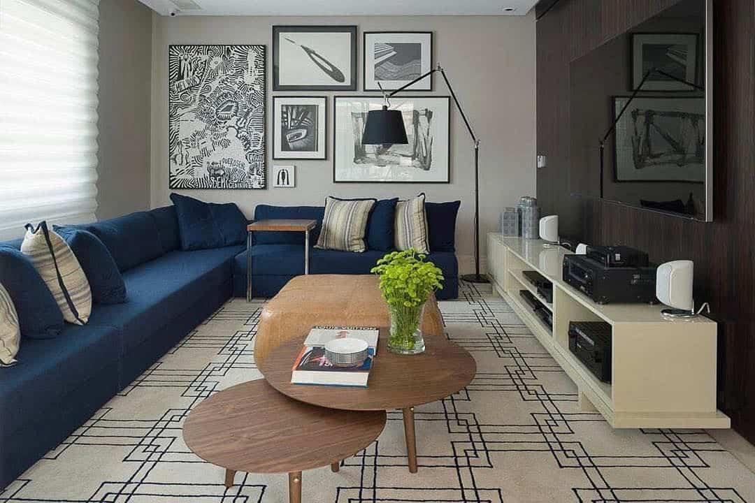 sofa em L azul sala elegante