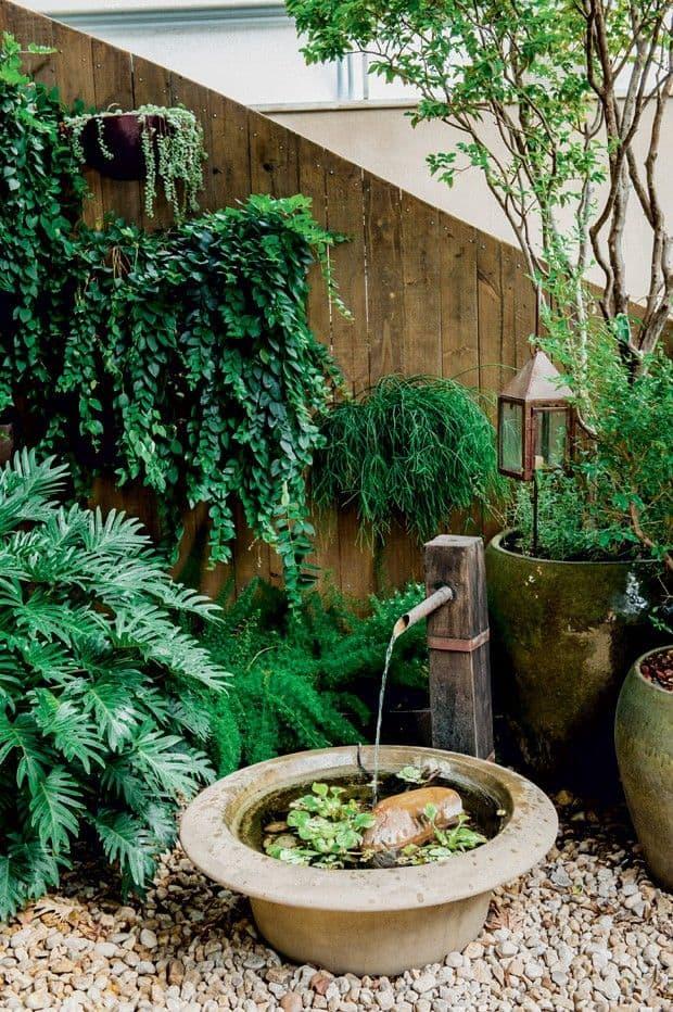decoracao de jardim com fonte