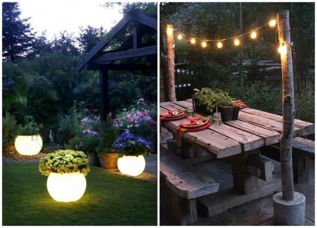 jardim com varal de luz e luminárias diferentes
