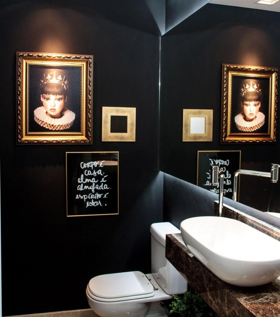 lavabo com parede preta moderno