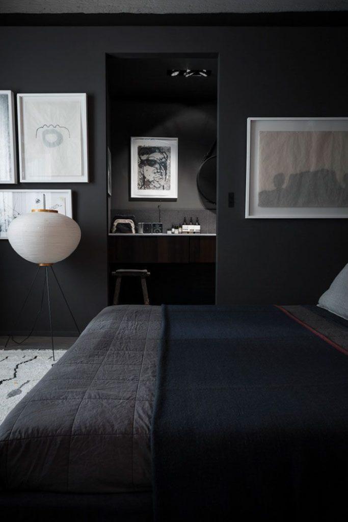 quarto moderno com decoracao preta