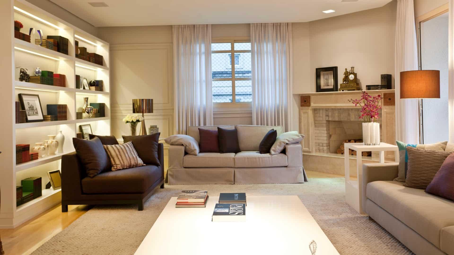 sala grande com tapete liso