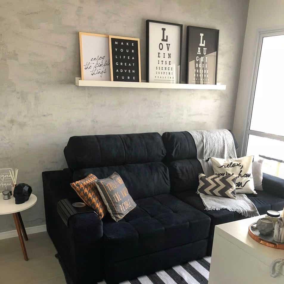 sofa preto sala simples moderna