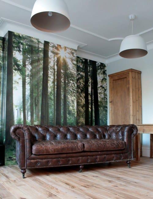 Chesterfield em couro antigo marrom decoracao