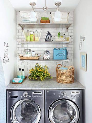 Decoração de lavanderia simples e moderna
