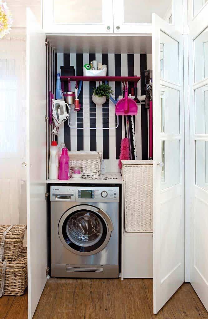Armário com lavanderia embutida e escondida