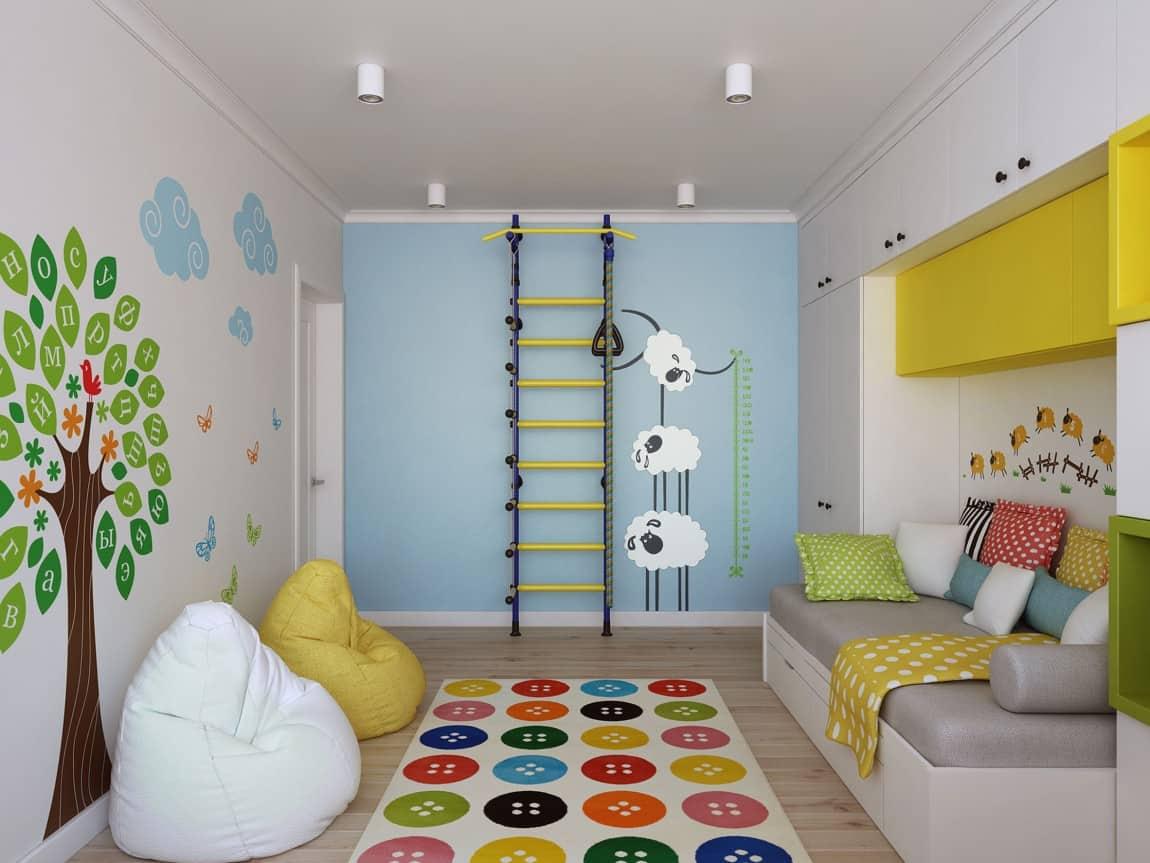quarto simples com decoracao colorida para criancas