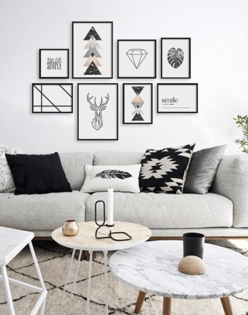 sala com decoracao clara preto e branco