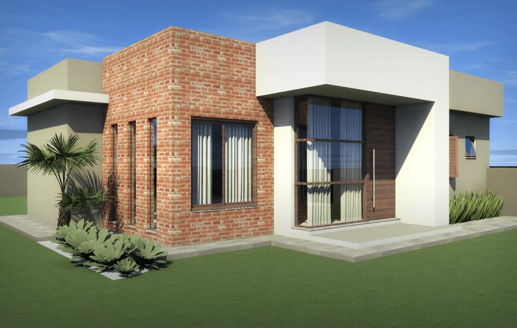 fachada de casa pequena com tijolo