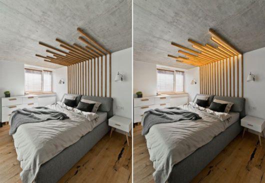 Cabeceira diferente e moderna com ripas no teto