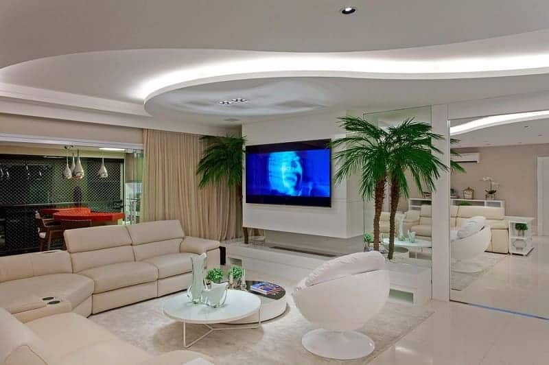 Ideia para projeto de gesso na sala de TV clean