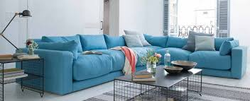 sofa de canto azul claro decoracao clean