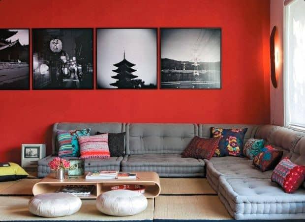 sofa de canto feito com futons cinza 2