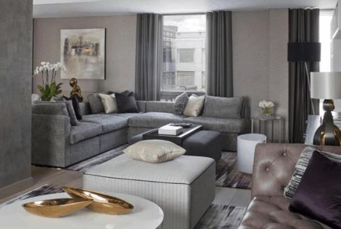 sofa de canto sala neutra e cinza
