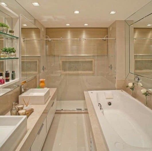 10 banheiro bege com banheira contemporaneo
