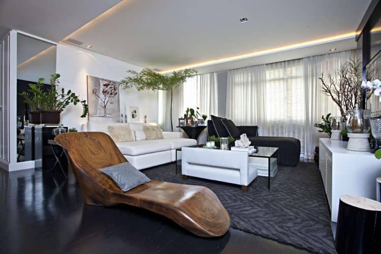 19 sala moderna e bonita com piso preto
