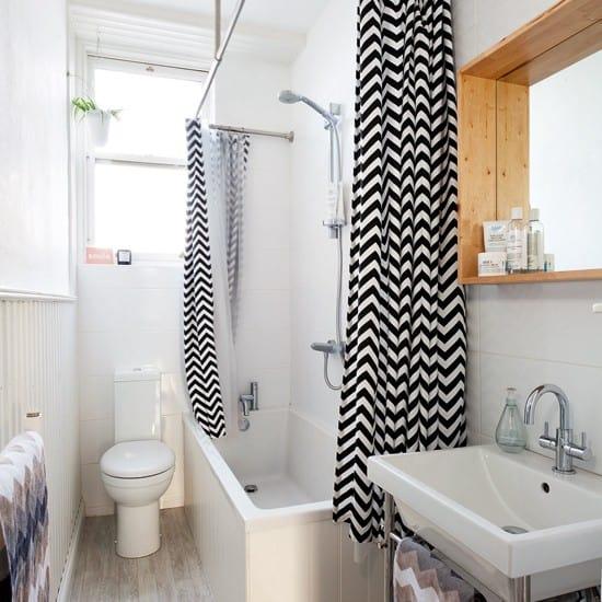 banheiro com cortina chevron decoracao