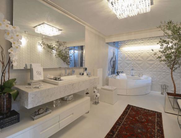 construcao e design banho com tampo marmore carrara