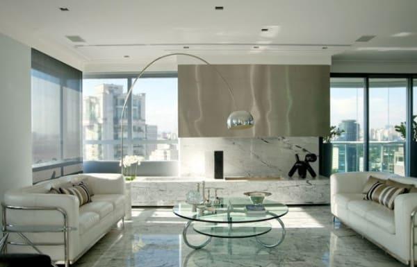 construcao e design marmore carrara na escada