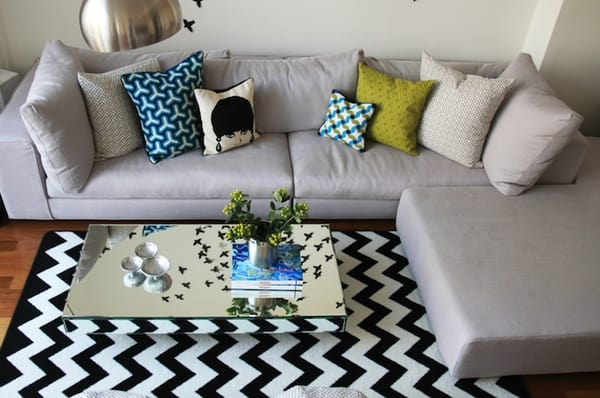decoracao com tapete chevron