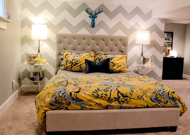 suite do casal moderna com estampa zigzag