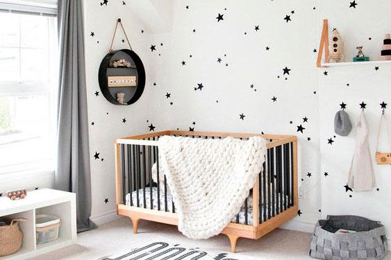 quarto de bebe menino branco com preto