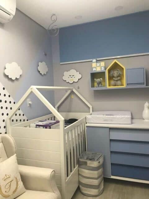 quarto de bebe menino com degrade de azul moderno