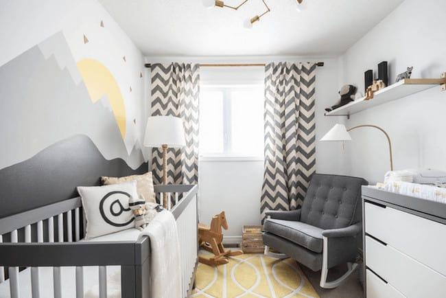 quarto de bebe moderno cinza e amarelo