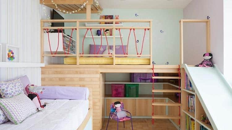 quarto de menina com tema de casa na arvore