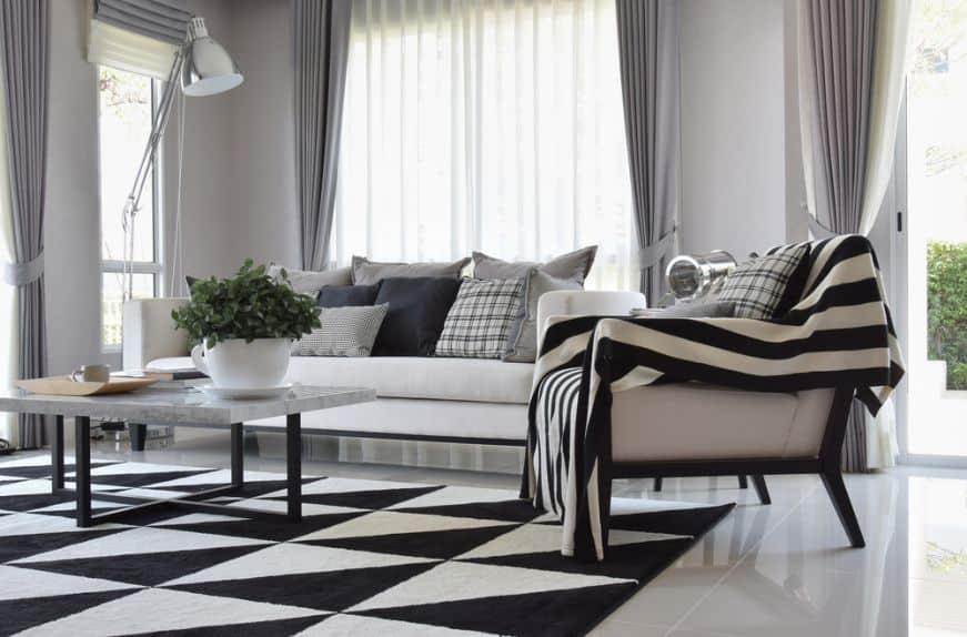 sala moderna e elegante preto e branca