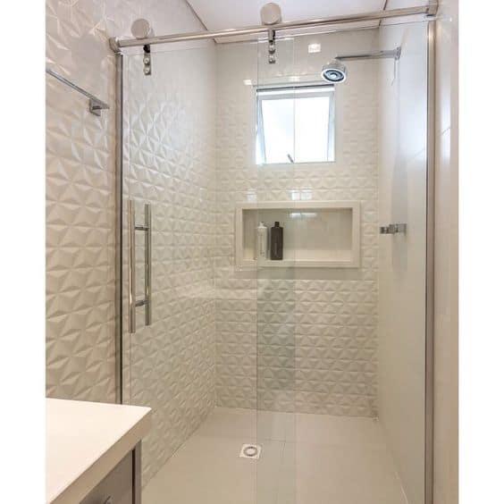 Revestimento 3d para banheiro branco