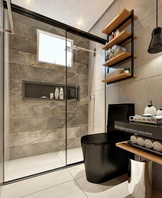 banheiro moderno com vaso preto