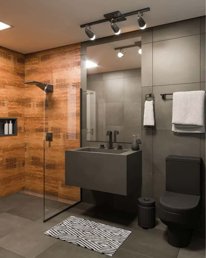 banheiro moderno preto e madeira com sanitoario preto