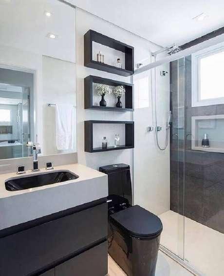 banheiro preto e branco moderno com vaso preto