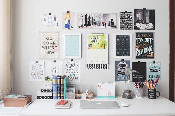 Composição de quadros de frases no home office
