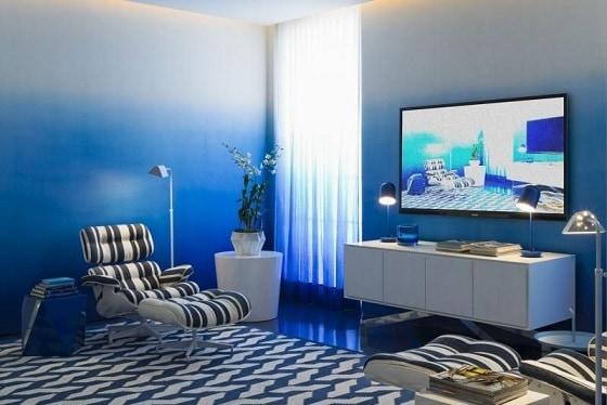 sala moderna com charles eames estampada