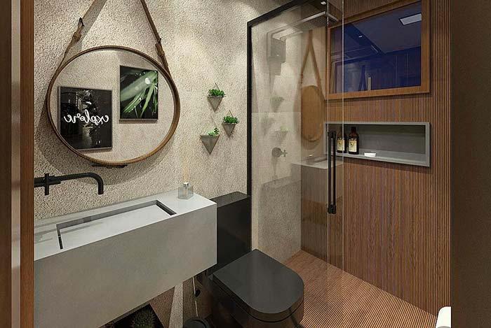 projeto de banheiro moderno cinza madeira e vaso preto
