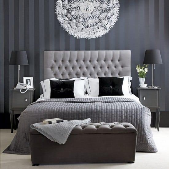 Decoração cinza clássica em quarto de casal