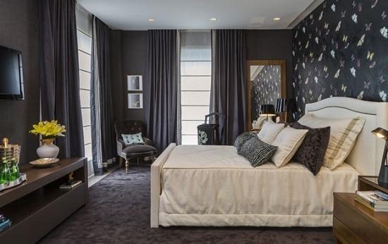 Dormitório escuro e moderno preto e branco