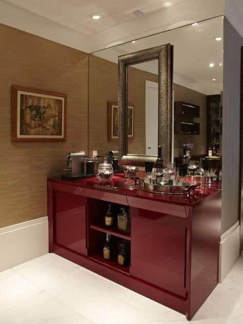 Buffet sob medida vermelho para café e bebidas