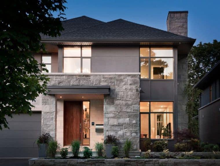 Fachada de casa diferente com pedra cinza