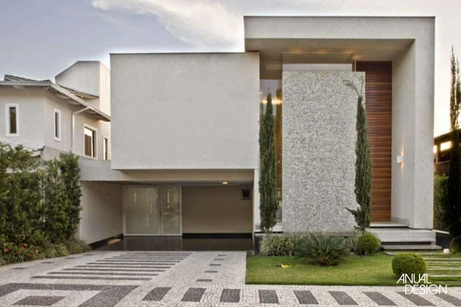 Pedra portuguesa branca na fachada de luxo